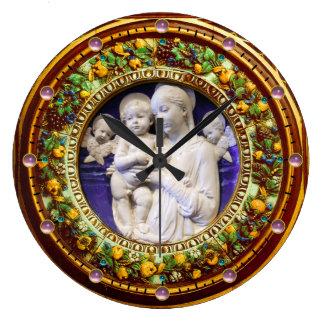 MADONNA WITH CHILD,ANGELS FLORAL RENAISSANCE CROWN LARGE CLOCK