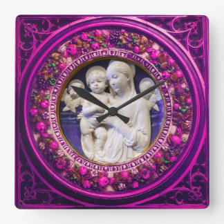 MADONNA WITH CHILD,ANGELS FLORAL RENAISSANCE CROWN SQUARE WALL CLOCK