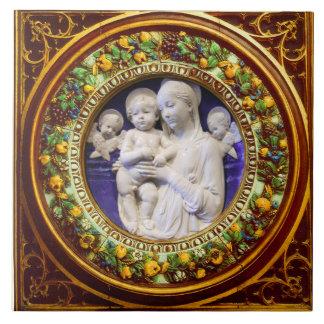 MADONNA WITH CHILD,ANGELS RENAISSANCE FLORAL CROWN CERAMIC TILE