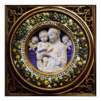 MADONNA WITH CHILD,ANGELS RENAISSANCE FLORAL CROWN POSTER