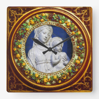 MADONNA WITH CHILD FLORAL RENAISSANCE CROWN SQUARE WALL CLOCK