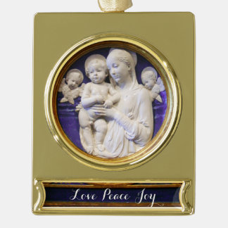 MADONNA WITH CHILD GOLD PLATED BANNER ORNAMENT