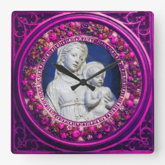 MADONNA WITH CHILD PINK FLORAL RENAISSANCE CROWN SQUARE WALL CLOCK