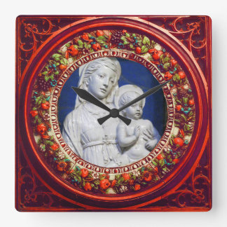 MADONNA WITH CHILD RED FLORAL RENAISSANCE CROWN SQUARE WALL CLOCK