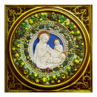 MADONNA WITH CHILD RENAISSANCE FLORAL CROWN POSTER