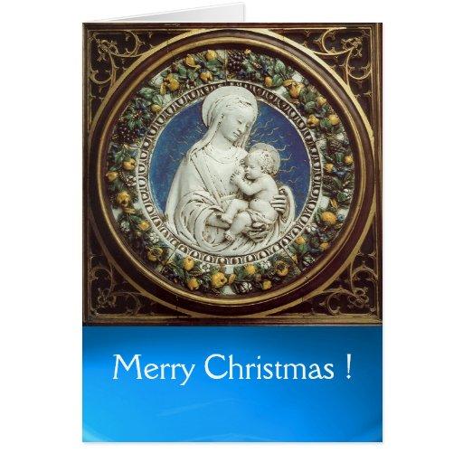 MADONNA WITH CHILD , Round Blue Sapphire Card