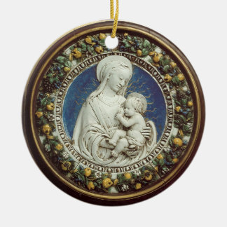 MADONNA WITH CHILD  Round Blue Sapphire Christmas Tree Ornaments