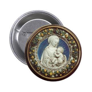 MADONNA WITH CHILD, round Button