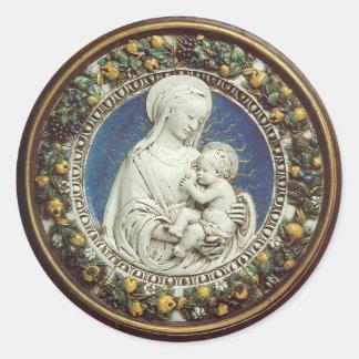 MADONNA WITH CHILD, round Classic Round Sticker