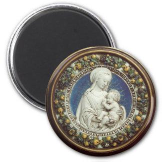 MADONNA WITH CHILD, round Fridge Magnets