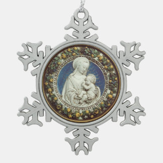MADONNA WITH CHILD Round Snowflake Pewter Christmas Ornament