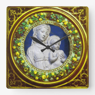 MADONNA WITH CHILD YELLOW FLORAL RENAISSANCE CROWN SQUARE WALL CLOCK