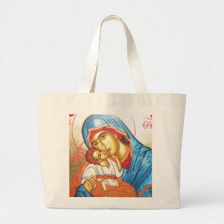 Madonna with Jesus Byzantine Religious Icon gold Jumbo Tote Bag