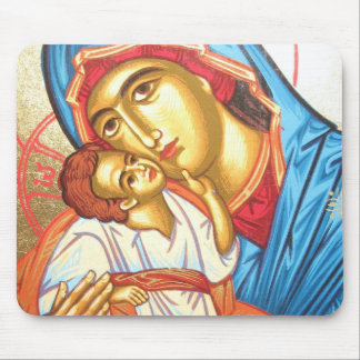 Madonna with Jesus Byzantine Religious Icon gold Mouse Pad