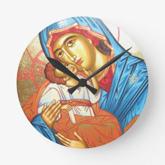 Madonna with Jesus Byzantine Religious Icon gold Round Clock