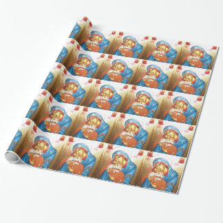Madonna with Jesus Byzantine Religious Icon gold Wrapping Paper