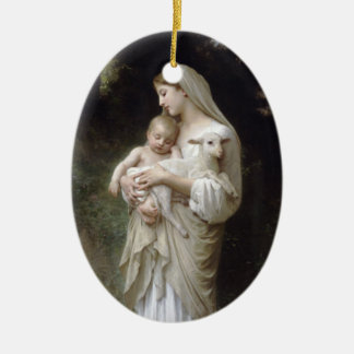 Madonna with Lamb - Bouguereau Ceramic Ornament
