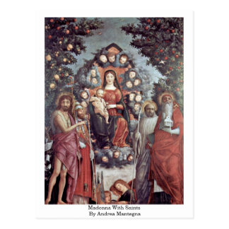 Madonna With Saints By Andrea Mantegna Post Card
