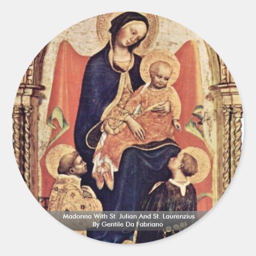 Madonna With St. Julian And St. Laurenzius Classic Round Sticker