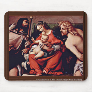 Madonna With St. Roch And St. Sebastian By Lotto L Mousepads