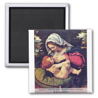 Madonna With The Green Cushion 2 Inch Square Magnet