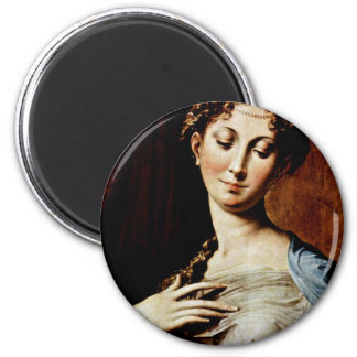 Madonna With The Long Neck  By Parmigianino 2 Inch Round Magnet