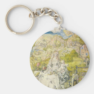Madonna with the many animals basic round button keychain