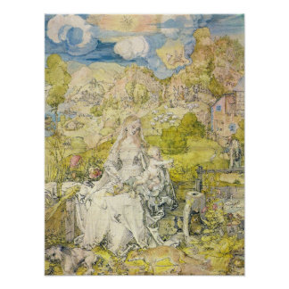 Madonna with the many animals by Albrecht Durer Poster