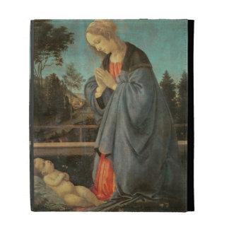 Madonna worshipping the Child, c.1477-80 (oil on p iPad Folio Case