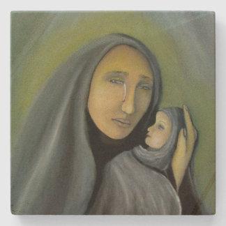 Madonna y bebé Jesús del Virgen María del navidad Posavasos De Piedra