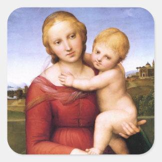 Madonna y bebé rubios Jesús Pegatina Cuadrada