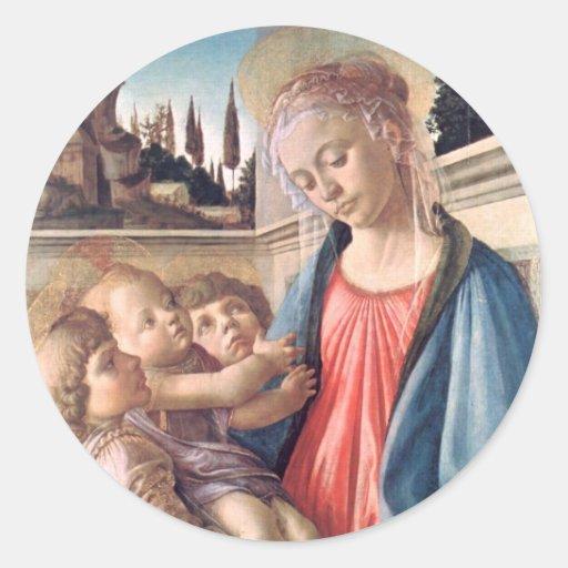 Madonna y bella arte de Botticelli de los ángeles Pegatina Redonda