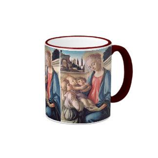 Madonna y bella arte de Botticelli de los ángeles Taza De Dos Colores