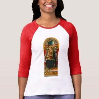 Madonna y camiseta Enthroned niño del raglán de