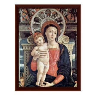 Madonna y detalle Enthroned de los ángeles Tarjeta Postal
