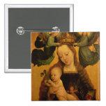 Madonna y el niño coronaron por dos ángeles, c.152 pin cuadrada 5 cm