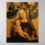 Madonna y el niño coronaron por dos ángeles, c.152 póster