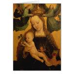Madonna y el niño coronaron por dos ángeles, c.152 tarjeta de felicitación