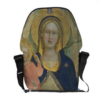 Madonna y el niño enthroned con los santos detall bolsa messenger