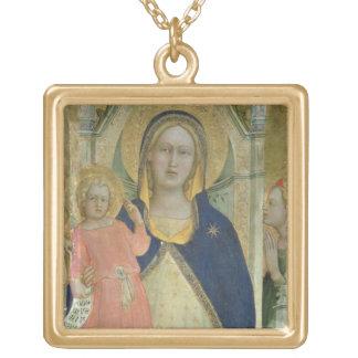 Madonna y el niño enthroned con los santos, detall colgante cuadrado