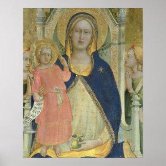 Madonna y el niño enthroned con los santos, detall póster