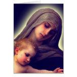 Madonna y el niño le agradecen las tarjetas