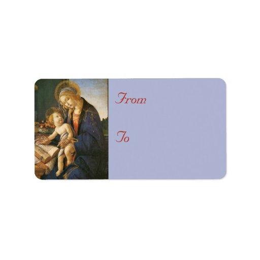 Madonna y etiquetas de dirección del navidad del n