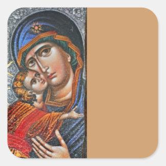 Madonna y Jesús infantil Pegatina Cuadrada
