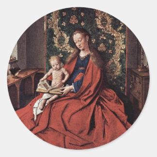 Madonna y lectura del niño de Eyck enero Van (el Etiquetas Redondas