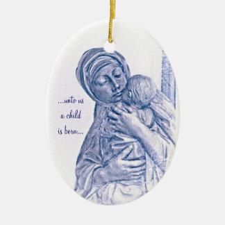 Madonna y nacimiento del niño de Cristo y de Adorno Ovalado De Cerámica