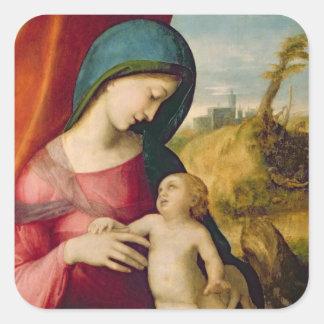 Madonna y niño, 1512-14 pegatina cuadrada