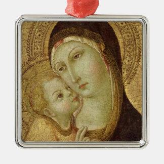 Madonna y niño 2 adorno navideño cuadrado de metal