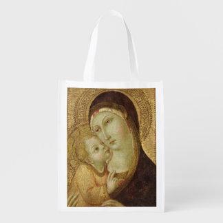 Madonna y niño 2 bolsa reutilizable