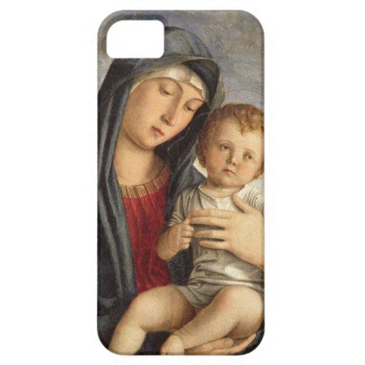 Madonna y niño (aceite en el panel) 2 iPhone 5 carcasa